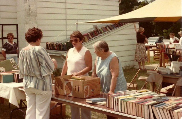 Outside at the Friends first book sale