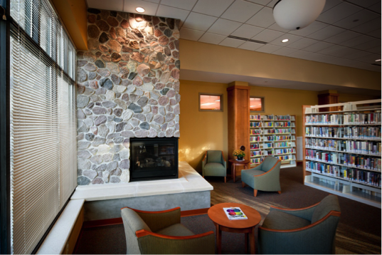 Library fireplace seating area