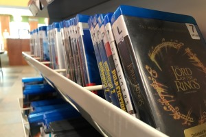 Blu-rays on shelf