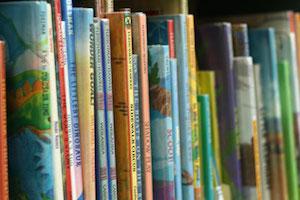 Shelf of children's books