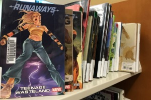 Graphic novels on a shelf